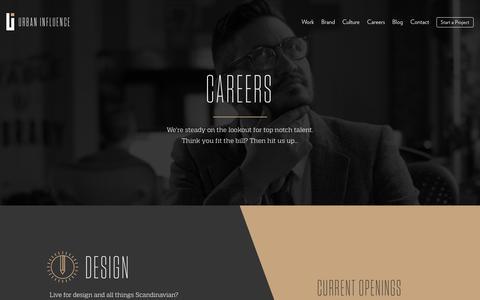 Screenshot of Jobs Page urbaninfluence.com - Careers | Urban Influence - captured Nov. 23, 2015
