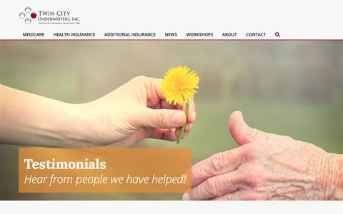 Screenshot of Testimonials Page twincityunderwriters.com - Testimonials - Minnesota Medicare Life and Health Coverage - captured Oct. 18, 2018