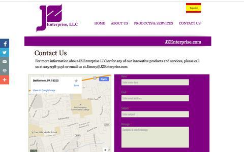 Screenshot of Contact Page jzenterprise.com - Contact Us: JZ Enterprise, LLC - captured Nov. 3, 2014