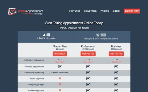 Screenshot of Pricing Page checkappointments.com - Appointment & Class Scheduling Software | Plans & Pricing - captured May 24, 2017