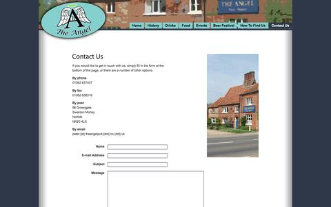 Screenshot of Contact Page theangelpub.co.uk - The Angel Free House, Swanton Morley. Cask Ales and Traditional Pub Food. - Contact Us - captured June 8, 2016