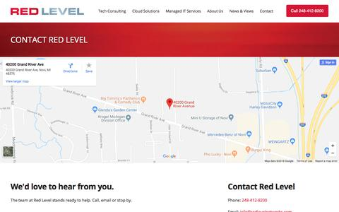 Screenshot of Contact Page redlevelnetworks.com - Contact Red Level - captured Feb. 26, 2018