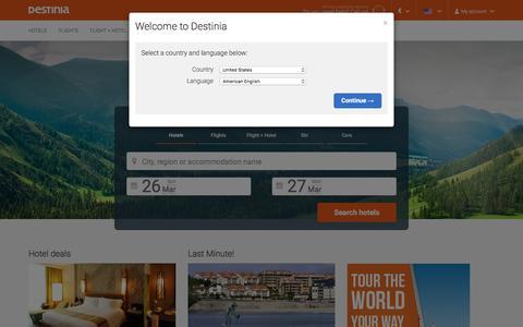 Screenshot of Home Page destinia.com - Travel agency, hotels, flights and holidays | Destinia - captured March 26, 2017