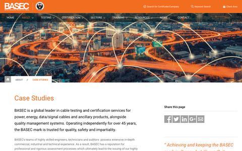 Screenshot of Case Studies Page basec.org.uk - Case Studies | BASEC - captured July 24, 2018