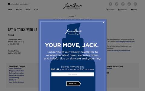 Screenshot of Contact Page getjackblack.com - CUSTOMER SERVICE - captured Aug. 17, 2018