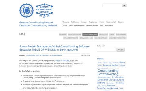 Screenshot of Jobs Page germancrowdfunding.net - Crowdfunding Jobs   German Crowdfunding Network - <h4>German Crowdfunding Network</h4><h4>Deutscher Crowdsourcing Verband</h4> - captured Nov. 3, 2014