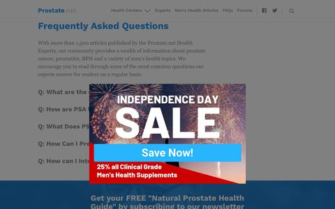 Screenshot of FAQ Page prostate.net - Frequently Asked Questions - Prostate.net - captured July 1, 2019