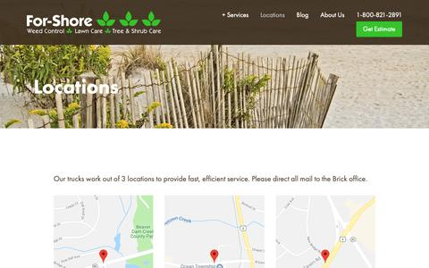 Screenshot of Locations Page for-shore.com - Locations — For-Shore - captured Oct. 10, 2018