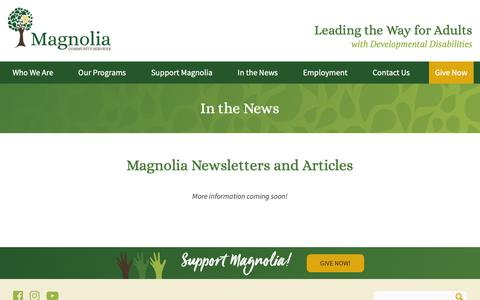 Screenshot of Press Page mcs-nola.org - In the News | Magnolia Community Services - captured Oct. 20, 2018