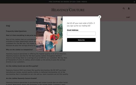 Screenshot of FAQ Page heavenlycouture.com - FAQ | Heavenly Couture | Heavenly Couture - captured Sept. 22, 2018