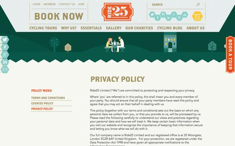 Screenshot of Privacy Page ride25.com - Privacy Policy » Ride25 - captured Sept. 24, 2014