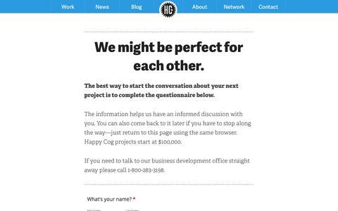 Screenshot of Contact Page happycog.com - Contact Happy Cog - captured Sept. 22, 2014