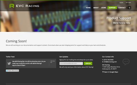 Screenshot of Support Page evcracing.com - EVC Racing | Innovation Through Excellence | Support - captured Sept. 27, 2014