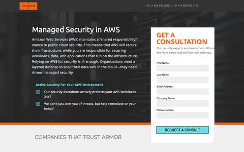 Screenshot of Landing Page armor.com - Managed Security in AWS - captured April 13, 2017