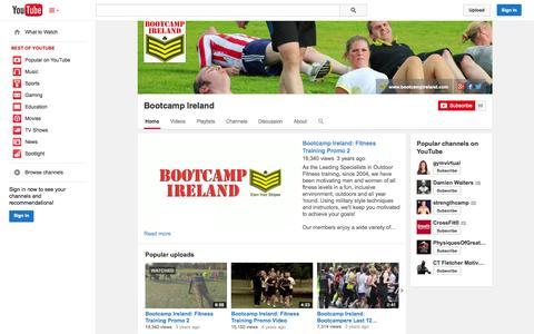 Screenshot of YouTube Page youtube.com - Bootcamp Ireland  - YouTube - captured Oct. 23, 2014