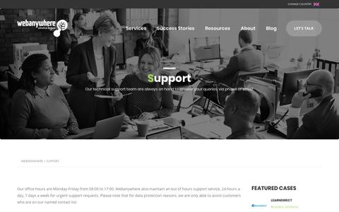 Screenshot of Support Page webanywhere.co.uk - Support | Webanywhere - captured July 9, 2019