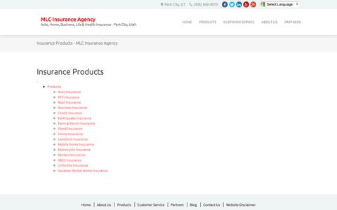 Screenshot of Products Page mlcagency.com - Insurance Products - MLC Insurance Agency - captured Nov. 18, 2016