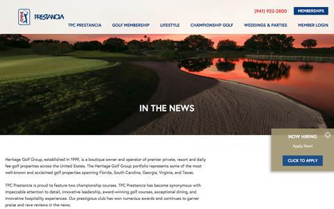 Screenshot of Press Page tpcprestancia.com - Heritage Golf Group News | TPC Prestancia - captured Feb. 23, 2018
