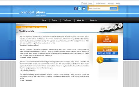 Screenshot of Testimonials Page practicalplans.com - Testimonials | Practical Plans - captured Sept. 26, 2014
