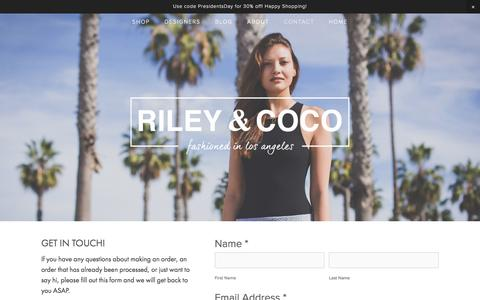 Screenshot of Contact Page rileyandcoco.com - Contact — Riley & Coco - captured Feb. 15, 2016