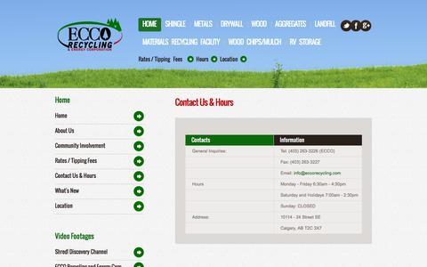 Screenshot of Hours Page eccorecycling.com - ECCO Recycling - captured Jan. 22, 2016