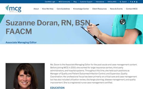 Screenshot of Team Page mcg.com - Suzanne Doran, RN, BSN, FAACM | MCG Health - captured Feb. 20, 2020