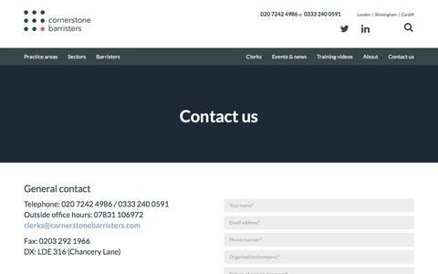 Screenshot of Contact Page cornerstonebarristers.com - Cornerstone Barristers | Contact us - captured May 17, 2017