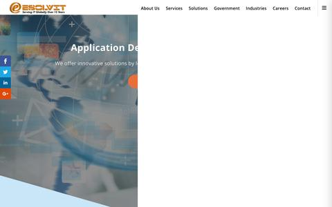 Screenshot of Services Page esolvit.com - Application Development Services | Esolvit Inc is a global leader in IT Services, Information Technology, Government Services, Product Development, Consulting Services. - captured Dec. 15, 2018