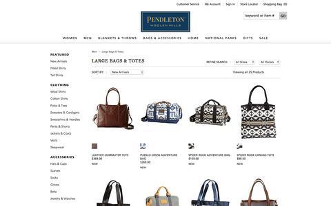 Screenshot of pendleton-usa.com - Women's Handbags, Totes, Backpacks & Makeup Bags | Pendleton - captured March 19, 2016