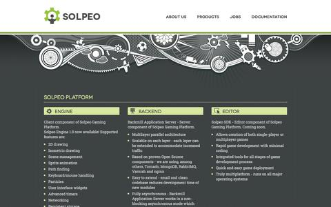 Screenshot of Products Page solpeo.com - Solpeo - isometric HTML5 engine and scalable backend - captured Sept. 19, 2014