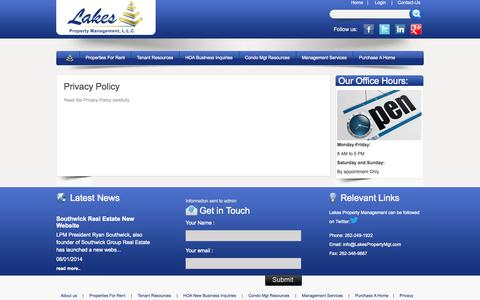 Screenshot of Privacy Page lakespropertymgt.com - Welcome to Lakes Property Management LLC - captured Oct. 2, 2014