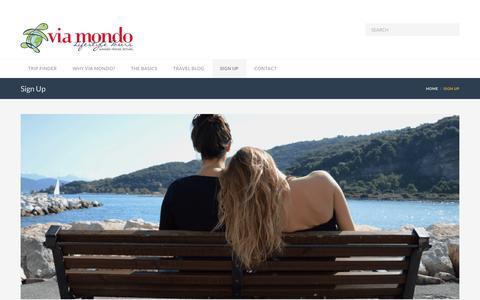 Screenshot of Signup Page viamondo.net - Sign Up  –  Via Mondo - captured Dec. 8, 2016