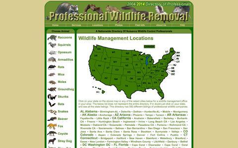 Screenshot of Locations Page wildlife-removal.com - Wildlife Management - captured Nov. 4, 2014