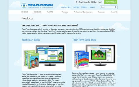 Screenshot of Products Page teachtown.com - Products – TeachTown - captured Nov. 27, 2016