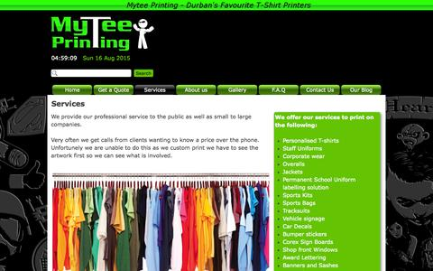 Screenshot of Services Page mytee.co.za - Services - MyTee - captured Aug. 16, 2015