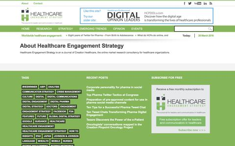 Screenshot of About Page engagementstrategy.com - About Healthcare Engagement Strategy - captured March 25, 2016