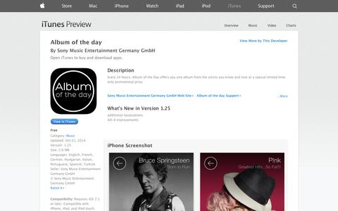 Screenshot of iOS App Page apple.com - Album of the day on the App Store on iTunes - captured Oct. 26, 2014