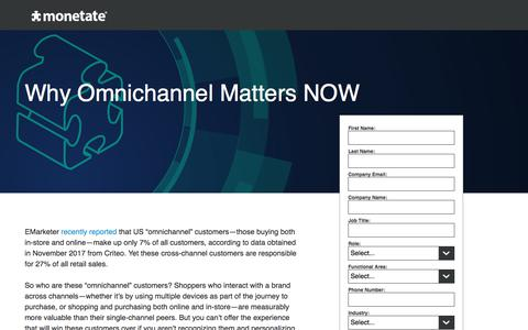 Screenshot of Landing Page monetate.com - Why Omnichannel Matters NOW   Whitepaper from Monetate - captured April 19, 2018