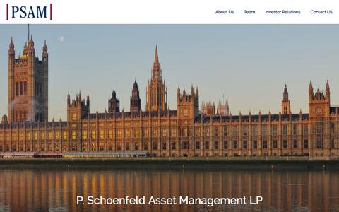 Screenshot of Home Page psam.com - Home - P. Schoenfeld Asset ManagementP. Schoenfeld Asset Management - captured Jan. 22, 2016