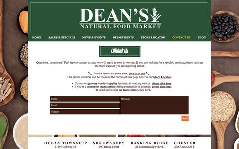 Screenshot of Contact Page deansnaturalfoodmarket.com - Dean's Natural Food Market   Organic, Non-GMO, Natural Products in NJ   CONTACT US - captured June 4, 2017