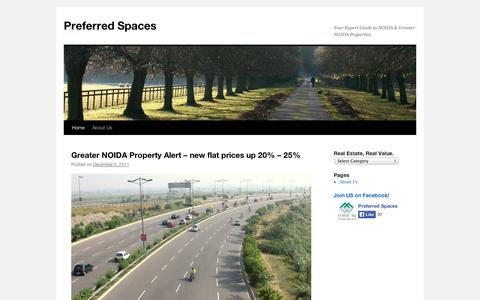 Screenshot of Blog wordpress.com - Preferred Spaces | Your Expert Guide to NOIDA & Greater NOIDA Properties - captured Sept. 12, 2014