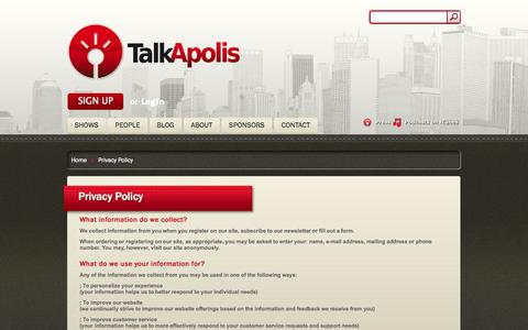 Screenshot of Privacy Page talkapolis.com - Privacy Policy | TalkApolis - captured Oct. 7, 2014