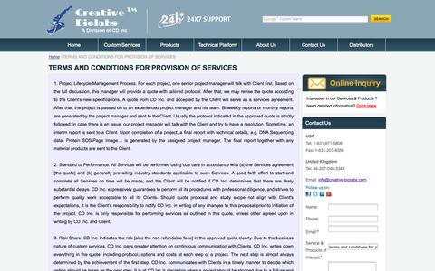 Screenshot of Terms Page creative-biolabs.com - TERMS AND CONDITIONS FOR PROVISION OF SERVICES - Creative Biolabs - captured Sept. 30, 2014