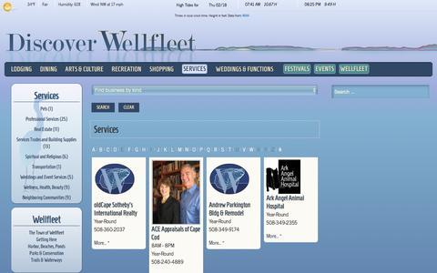Screenshot of Services Page wellfleetchamber.com - Wellfleet Chamber of Commerce - Services - captured Feb. 18, 2016