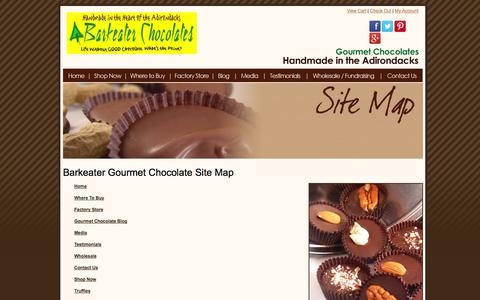 Screenshot of Site Map Page barkeaterchocolates.com - Handmade Gourmet Chocolates & Truffles From The Adirondacks In Upstate NY | Barkeater Chocolates - captured Sept. 30, 2014