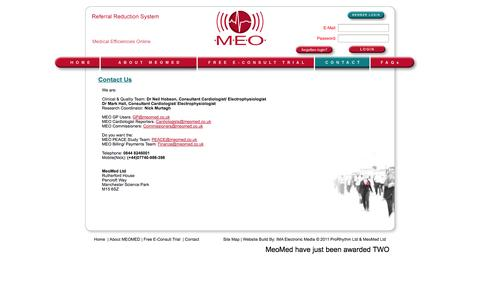 Screenshot of Contact Page meomed.co.uk - Professional ECG Reporting Tool for Medical Professionals - captured Oct. 3, 2014