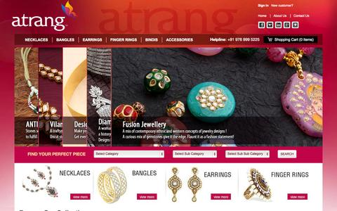 Screenshot of Home Page atrang.com - Silver And Art Imitation, Artificial Jewellery Online Shopping Store in Mumbai, India - captured Oct. 4, 2014