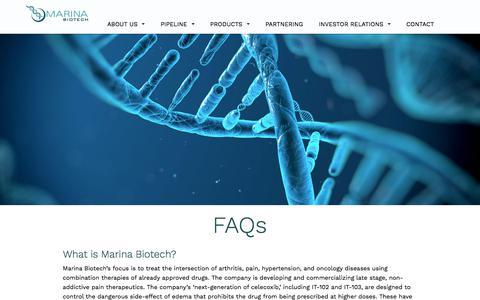 Screenshot of FAQ Page marinabio.com - FAQs - Marina Biotech - captured July 12, 2018