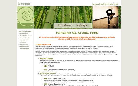 Screenshot of Pricing Page karmayogastudios.com - Studio Fees - captured Oct. 15, 2018