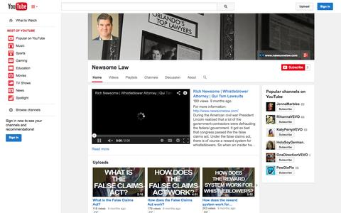 Screenshot of YouTube Page youtube.com - Newsome Law  - YouTube - captured Nov. 3, 2014